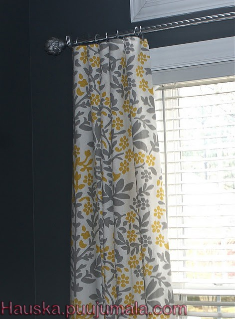 Curtains made from Target table cloths. No sewing. What a great/cheap idea!