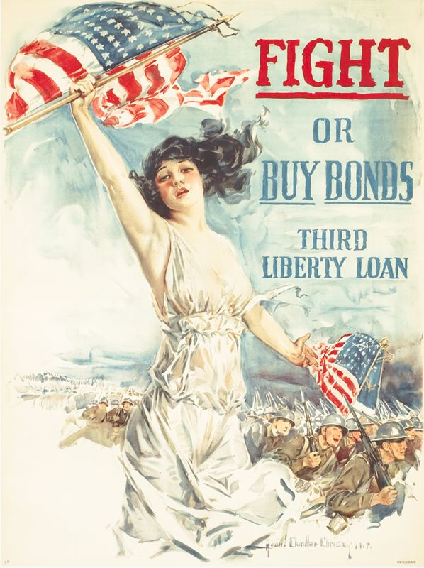 Fight or Buy Bonds - Third Liberty loan by Christy, Howard Chandler   Vintage Posters at International Poster Gallery