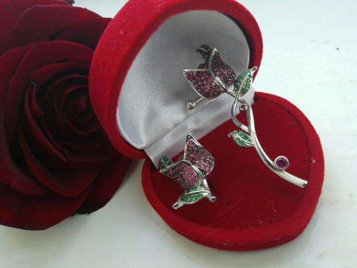 Colorful CZ Stones Romantic Rose Ear Accessories Wedding Earrings Jackets Jewelry for Women #AliExpress