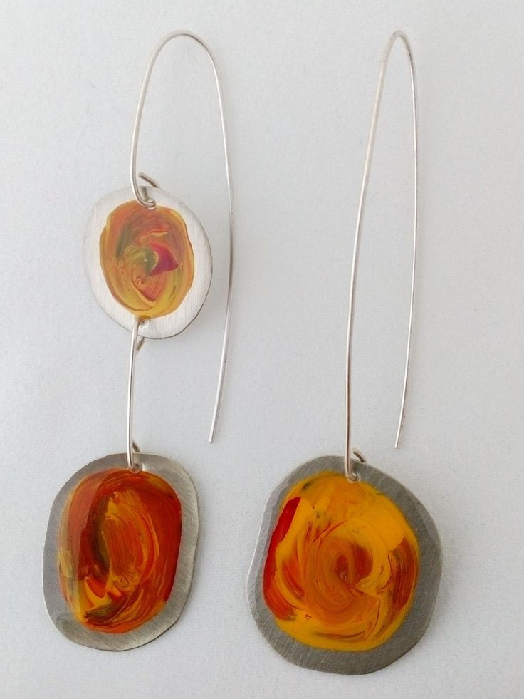 Handpainted pair of Earrings with Acrylic Colors in Yellow with Red and Green touches in Asymmetric Design by AnKaArts on Etsy