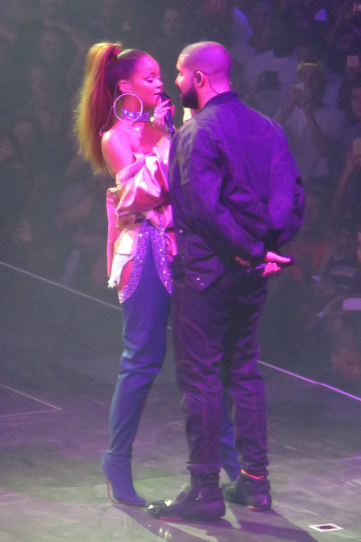 Drake and Rihanna perform live on stage at Drake's 7th Annual OVO Fest Concert held at the Air Canada Centre in Toronto, Canada