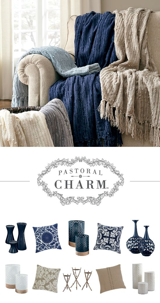 Perfect Pastoral Charm™   Navy And Cream Accessories   Home Accents   Accent Throws  And Pillows   Ashley Furniture