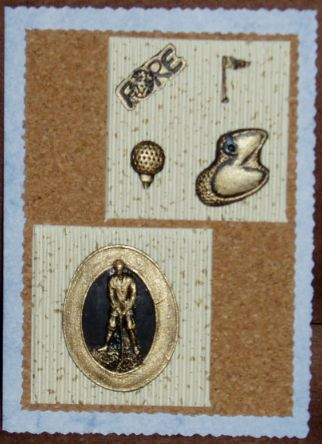 001_A6_Golfer and Brass Embellishments. Handmade by Diane Prinsloo (Lubbe).
