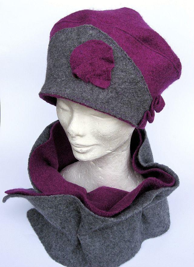 completo cappello e scaldacollo/sciarpa di lana grigio/fuxia : Cappelli, berretti di janecolori