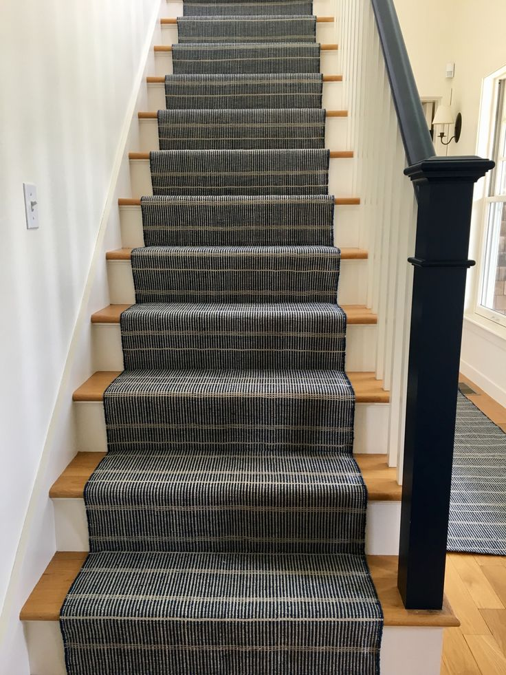 Delightful Dash And Albert Stair Runner With Painted Blue Handrail.