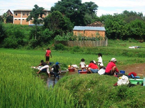 Les lavandières utilisent l'eau des canaux qui irriguent les rizières pour laver leur linge