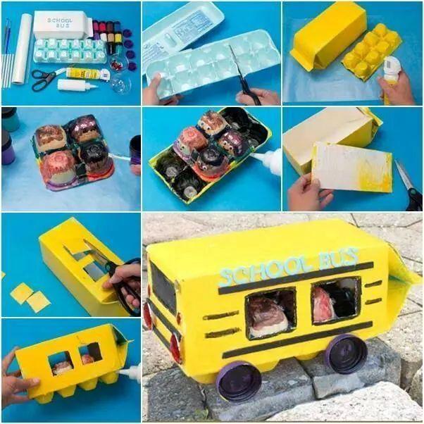 autobús hecho con caja de leche y cartón de huevo reciclado!