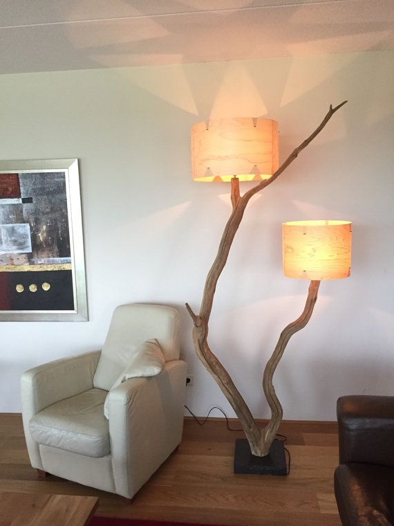 Unique double floor lamp weathered old Oak branch by GBHNatureArt