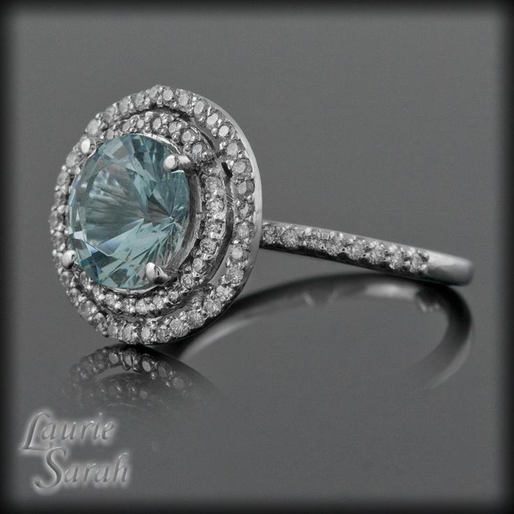 Round Aquamarine and Diamond Double Halo Ring - March Birthstone - LS1533