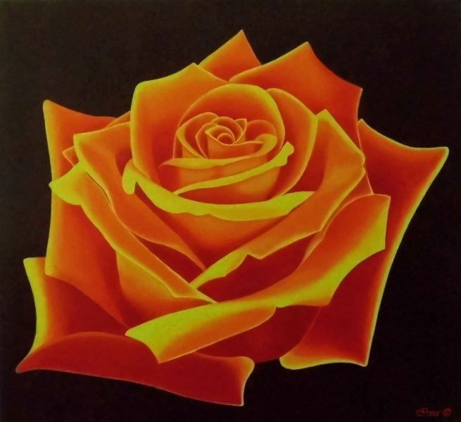 Irma Endrey: Rose of November; oil on canvas