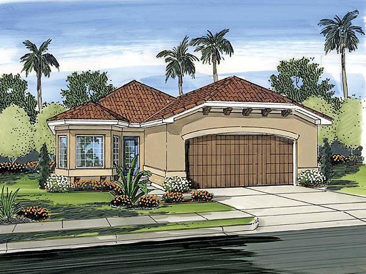 delightful sunbelt house plans #5: 050H-0012: Narrow Lot Sunbelt House Plans