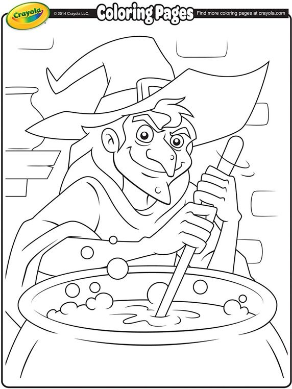 Spooky witch coloring template for Halloween.