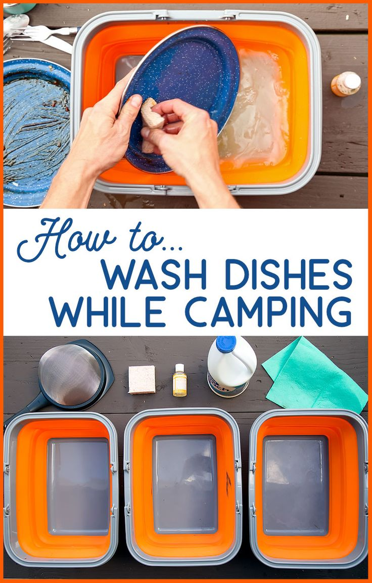Learn how to do dishes while camping, including the equipment needed to set up a camping dishwashing station.
