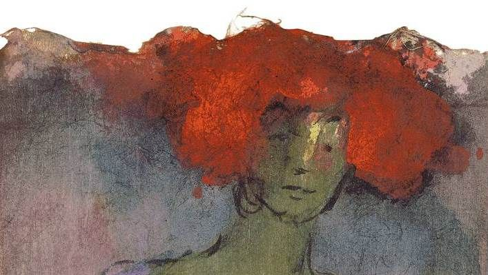 """Emil Nolde (German-Danish, 1867 – 1956) The Redhead (Rotblonde), 1910/11 Watercolour on Japan paper """
