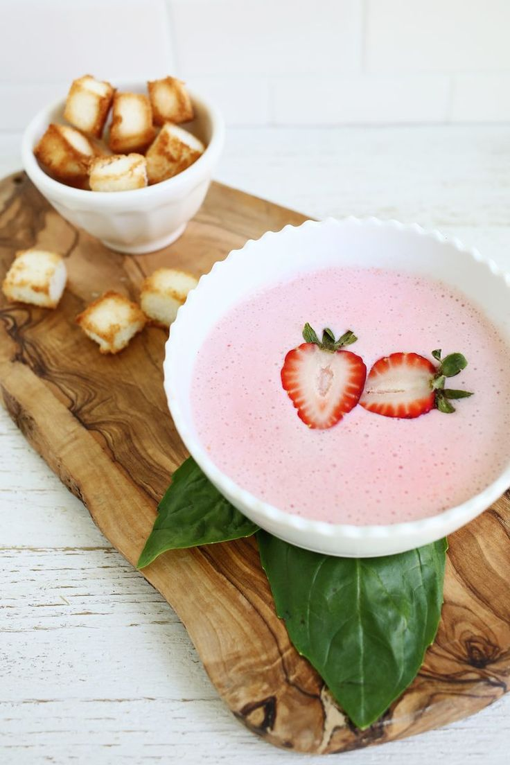 chilled strawberry basil soup (with angel food cake croutons)
