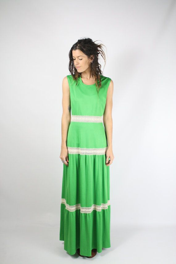 des années 70 Kelly green Maxi dress, maxi Bohème Hippie robe de Festival d'été, Medium