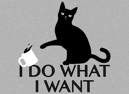 I Do What I Want T-Shirt SnorgTees // cat knocking over coffee mug. Very smug cat tee.