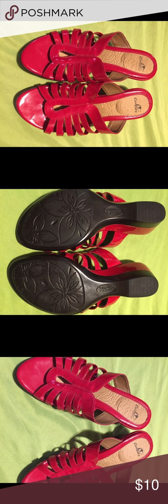 NWOT! Made by I love comfort. Size 7.5 medium NWOT. Made by I love comfort. Red sandals with comfy foot bed. Size 7.5 medium width i love comfort Shoes Sandals