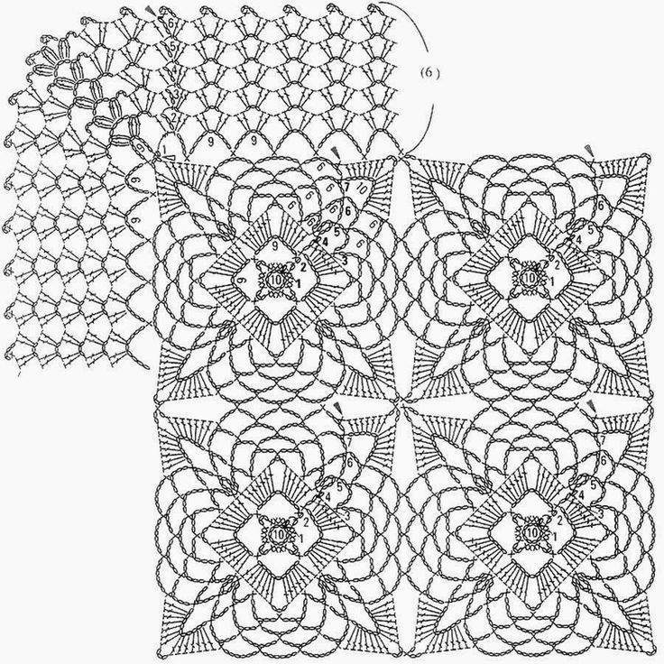 Crochet Patterns: Crochet Pattern of Tablecloth Or Bedspread - Beautiful Square motif
