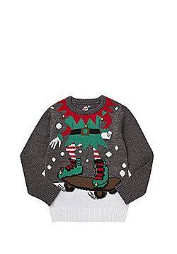 F&F Elf Body Skateboard Christmas Jumper - Grey