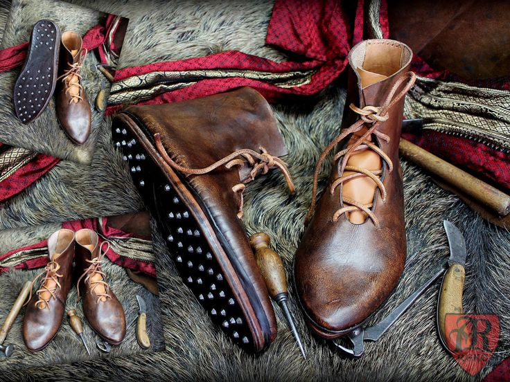 Shoes medieval 15th century reenactment. Leather shoes with nails historical.