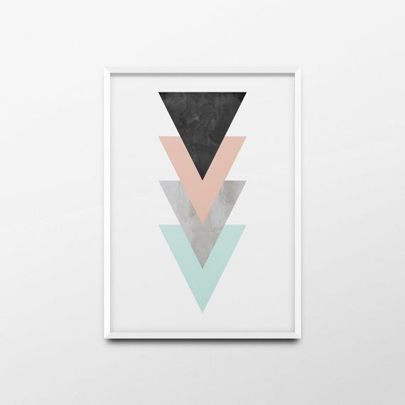 Printable Wall Art Triangles Geometric Poster Geometric by ANXUK