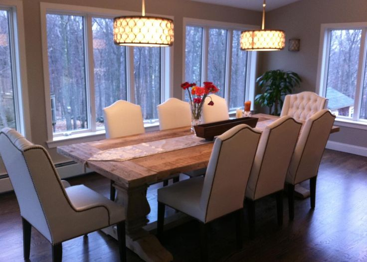 Dining Room With 6 Leather Side Chairs And 2 Host The