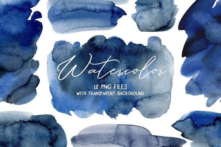 Navy Blue Watercolor Stains Splashes Png 216635 Illustrations Design Bundles In 2021 Watercolor Splash Blue Watercolor Clip Art