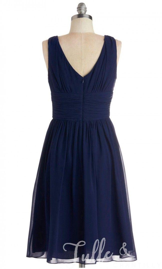 Chiffon Pleated Dark Navy V-neck Short Bridesmaid Dress TBQP256 click for 40+ colors
