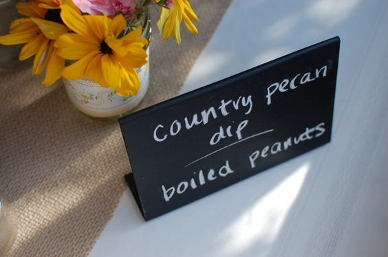 Chalkboard food signs made out of plastic picture frames