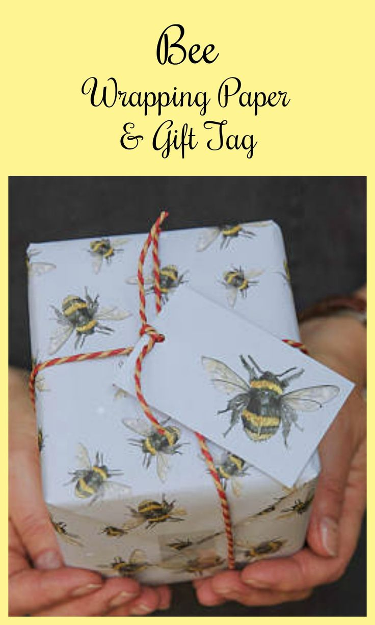 Bee Gift Wrap ping paper with matching gift tag 'ad 'Etsy 'bee #bees
