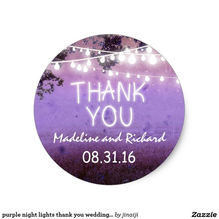 purple night lights thank you wedding stickers