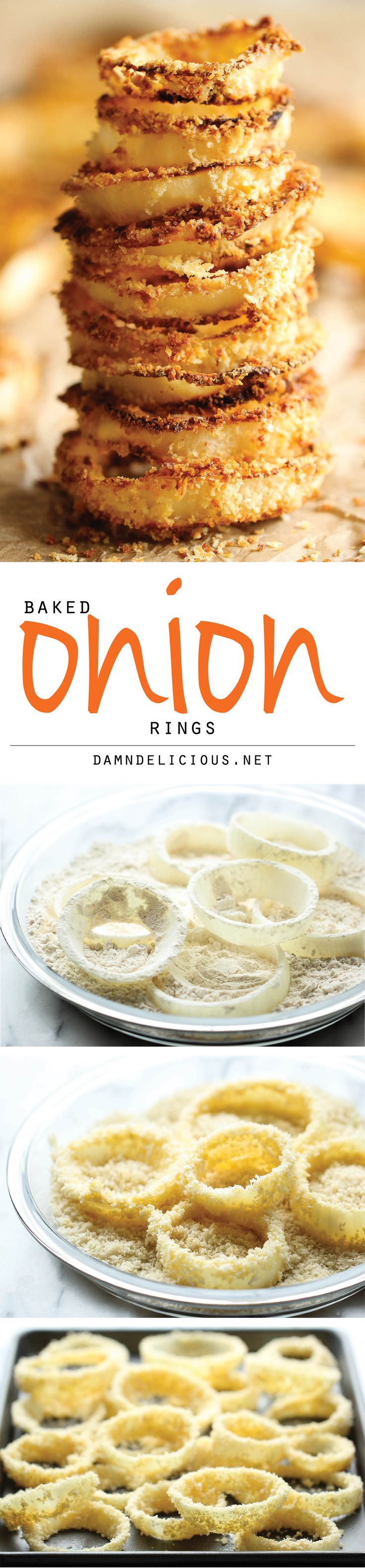 ~Oven Baked Onion Rings - No need to deal with hot oil - these onion rings are easily baked to crisp-perfection right in the oven!