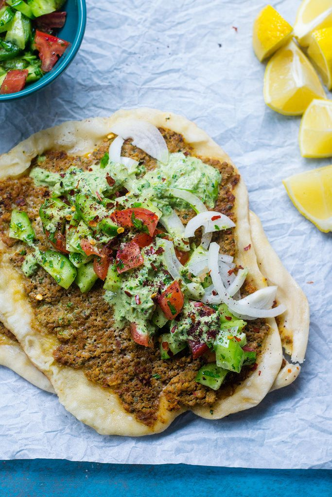 Lahmacun (Turkish Pizza) with Chopped Salad and Herb Tahini Sauce