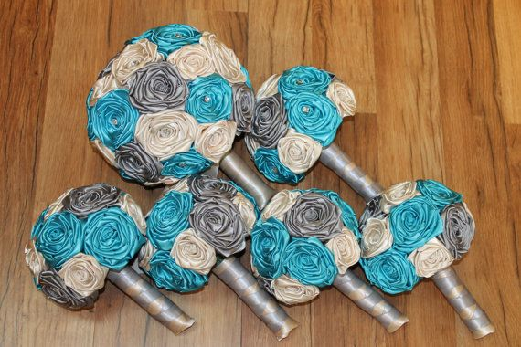 Turquoise Wedding Bouquet Set Turquoise Bouquets by HeyBouquet
