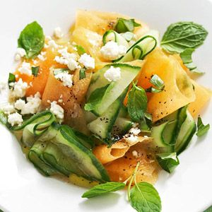1 recipe Balsamic Vinaigrette  1/2 large cantaloupe, cubed (1 1/2 cups)*  1/2 large cucumber, halved lengthwise and sliced* (1 1/2 cups)  3 tablespoons crumbled feta cheese  1 tablespoon snipped fresh basil  1 tablespoon snipped fresh mint