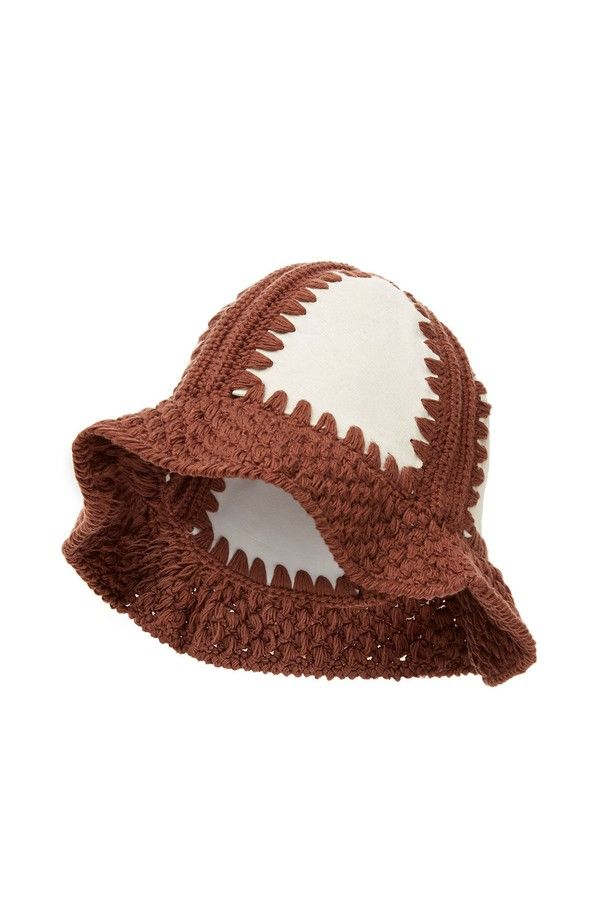 8ab7ed7a69e Purchase Handmade Knit Hat Brown White featured by LOEWE in brown white. As  always enjoy Free Shipping with your favorite brands at Orchard Mile.