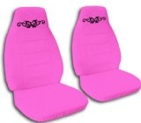 Hot pink car seat covers with a butterfly tattoo