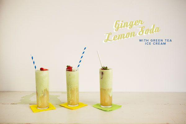 Ginger Lemon Soda with Green Tea Ice Cream | Recipe on Oh Happy Day!