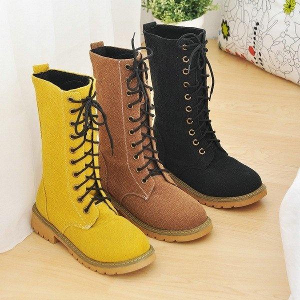 Botas Lace-up mulheres novas botas de camurça dedo do pé redondo longo de equitação botas até o joelho Sapatos