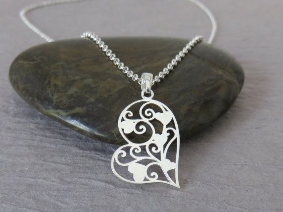 Heart necklace sterling silver Mothers day gift by MarciaHDesigns