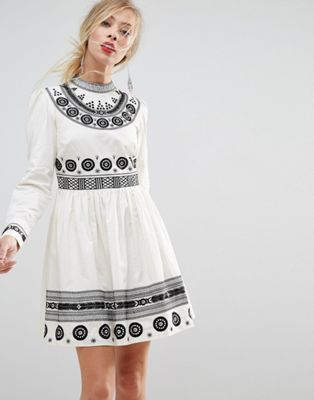 ASOS PREMIUM Embroidered Mini Skater Dress