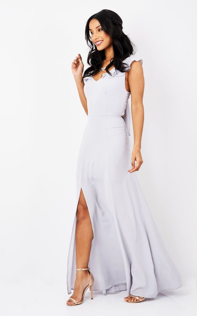 Light Grey Tie Back Maxi Dress - SilkFred