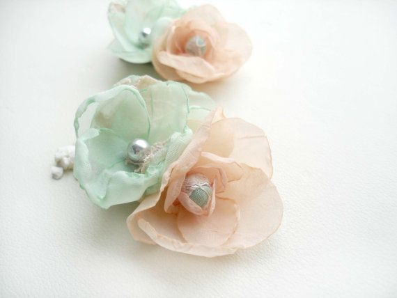 Hey, I found this really awesome Etsy listing at https://www.etsy.com/listing/175163929/peach-and-mint-wedding-headpiece-bridal