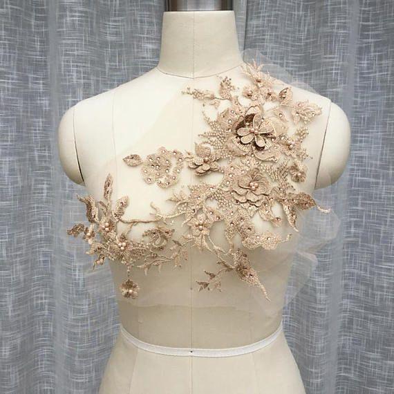 rose gold lace applique bridal lace applique delicate lace