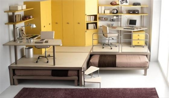 """Add a third """"trundle"""" and make a floor seating area over it, or replace one desk with a futon and this would be great!"""