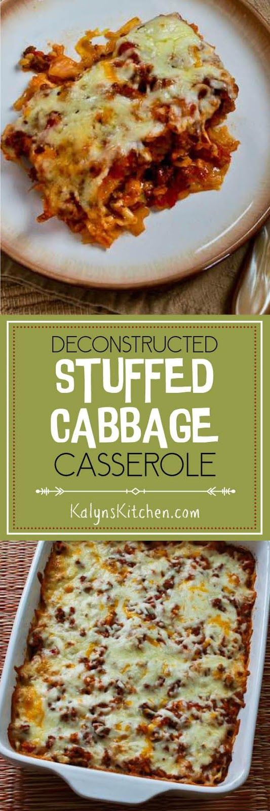 Deconstructed Stuffed Cabbage Casserole is the ultimate in winter comfort food, and this recipe is gluten-free and freezes well. It's been a hit with everyone who's tried it! [found on KalynsKitchen.com] Cheese is optional