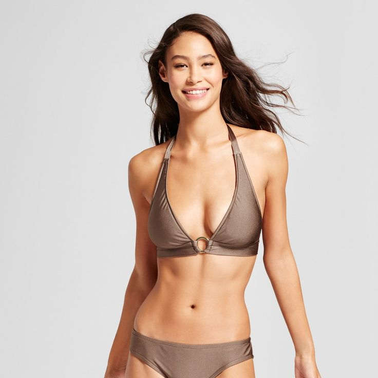 Women's Ring Halter Triangle Bikini Top - Hot Chocolate - D/DD Cup - Mossimo, Brown