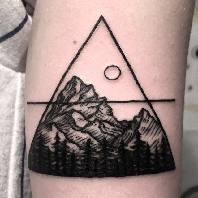 The alchemical symbol for air, mountain tattoo