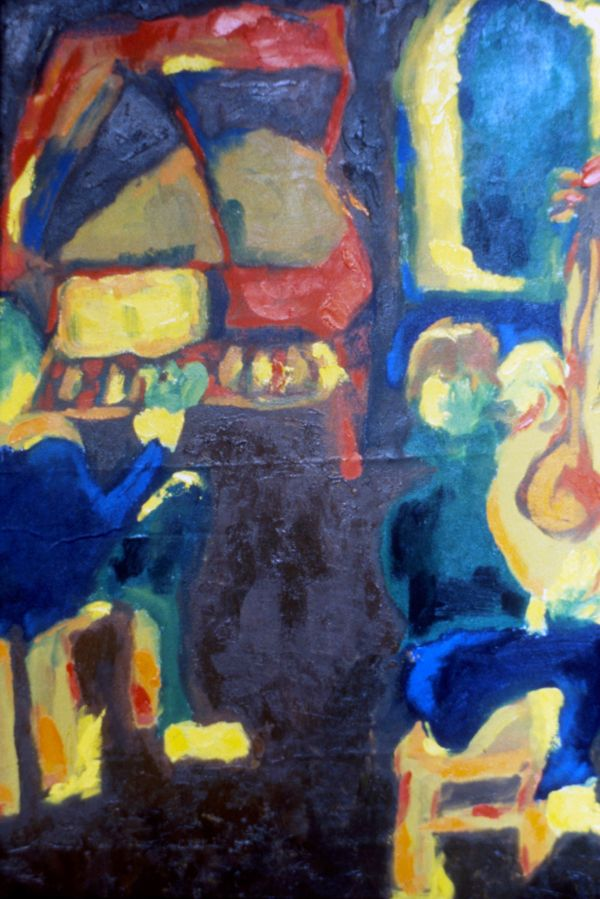 Juan Manuel Tocando el Clavecín by Cristina Rodriguez, 1986. Oil on linen, 60 x 40 cm.  Private collection. Bogota, Colombia. #painting #oilpainting #finearts #contemporaryart #cristinarodriguez